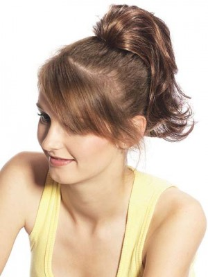 Medium Length Syenthetic Wavy Ponytail With Claw Clip High Ponytail