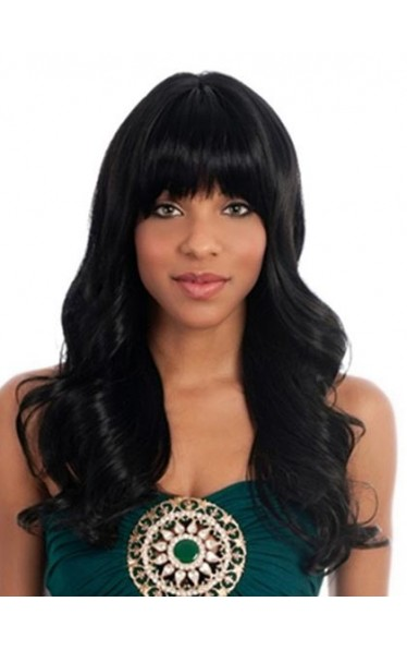 Long Wavy Black Human Hair Wig
