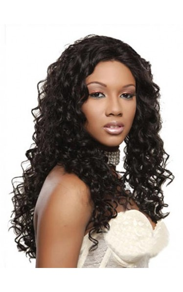 Elegant Lace Front Long Curly Human Hair Wig