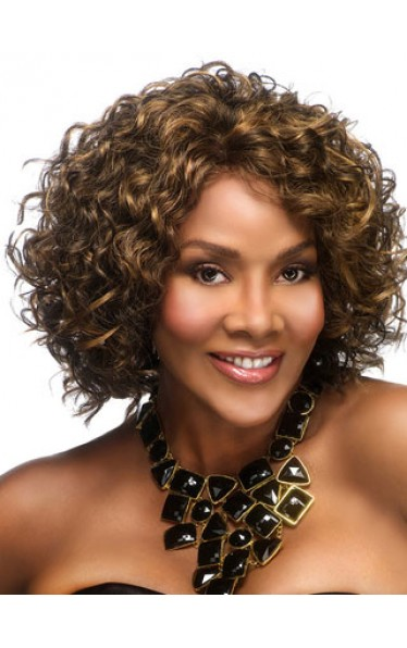 Capless Medium Length Curly Synthetic Wig