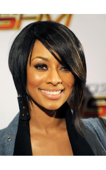 Dainty Short Straight Sepia African American Lace Wigs