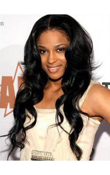 Beautiful Long 24 Inch Wavy Black African American Lace Wigs