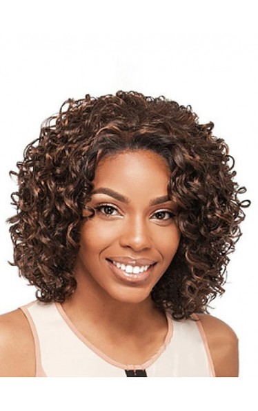Cheap Short Curly No Bang African American Lace Wigs for Women