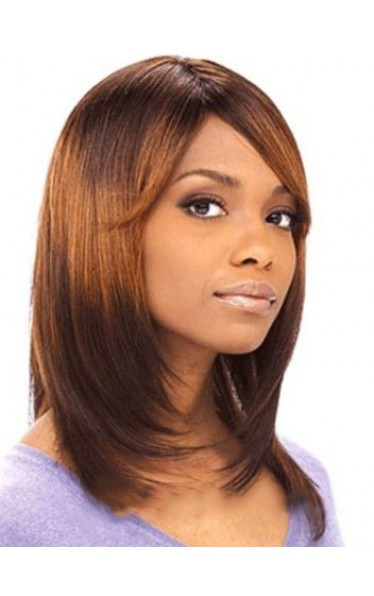 Popurlar Medium Straight African American Lace Front Wigs for Women