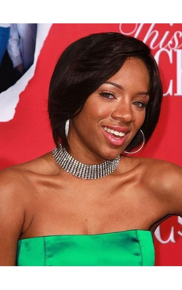 Lovely Short Straight African American Lace Front Wig