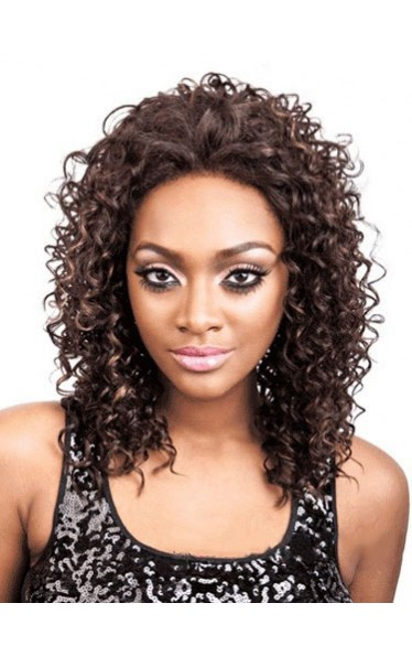 Custom Super Charming Medium Curly African American Lace Wig
