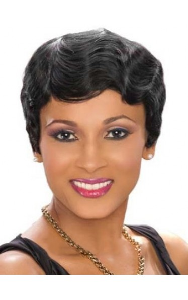 Discount Short Wavy Black African American Lace Wigs