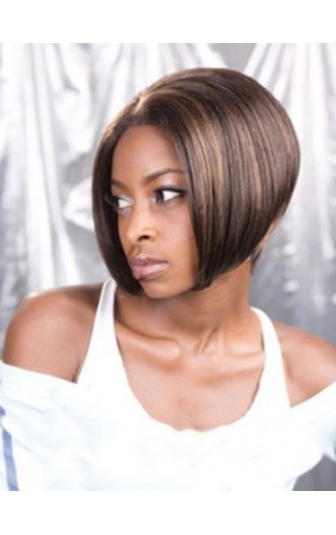 Fashionable Short Straight No Bang African American Lace Wigs for Women