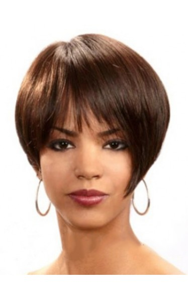 Stylish Short Straight Full Bang African American Wigs for Women