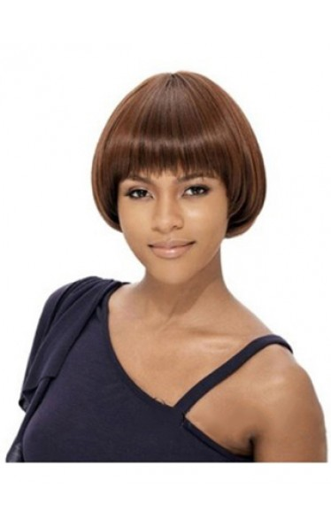 Graceful Short Straight Full Bang African American Wigs for Women