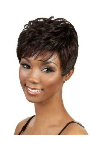 Cute Short Wavy Brown Side Bang African American Lace Wigs