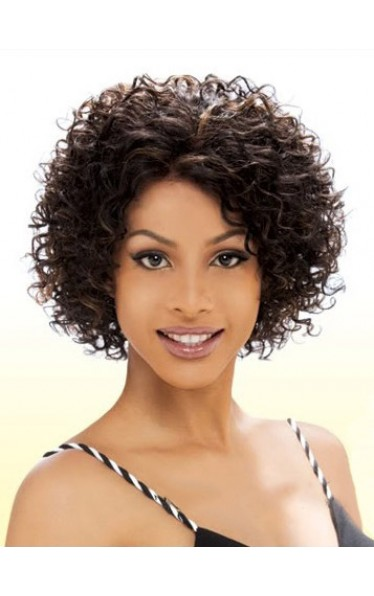 Cheap Short Curly Brown African American Lace Wigs for Women 8 Inch
