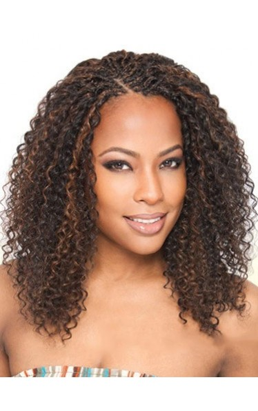 Exquisite Medium Curly No Bang African American Lace Wig