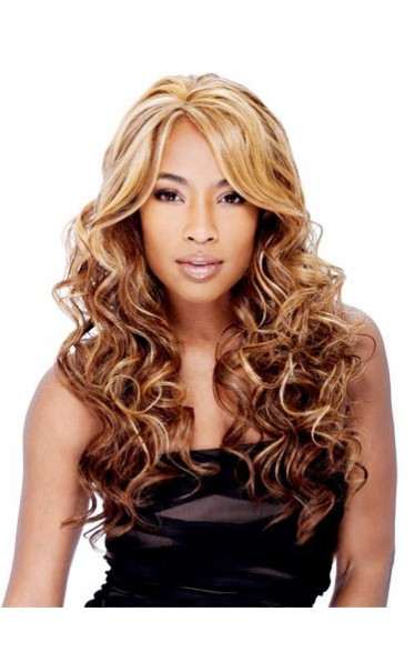 Adjustable Long Curly Side Bang African American Lace Wigs for Women 22 Inch