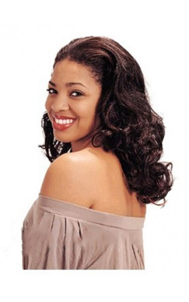 Fabulous Long Curly No Bang African American Lace Wigs for Women 18 Inch