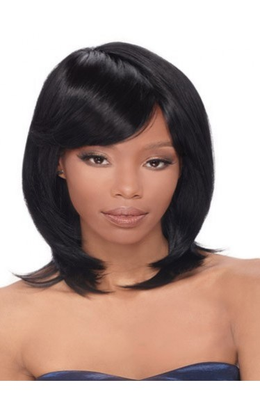 Cute Short Straight Black Full Bang African American Wigs for Women