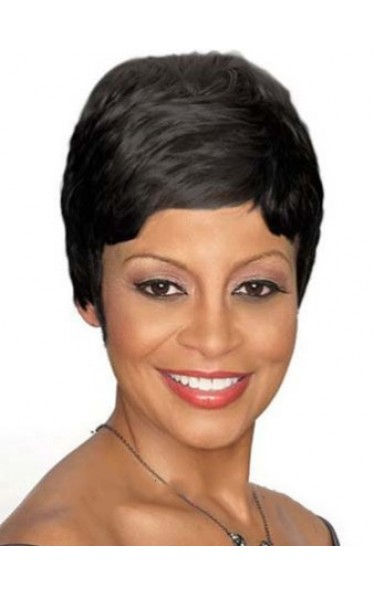 Stylish Short Straight Black African American Lace Wigs for Women