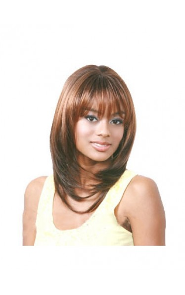 Unique Medium Straight Brown Full Bang African American Wigs
