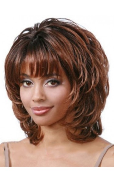Sketchy Short Wavy Full Bang African American Wigs for Women