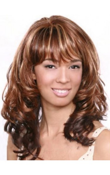 Afro American Wigs Long Wavy Full Bang African American Wig