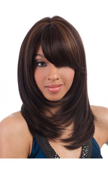 Wig Online Medium Straight Full Bang African American Wigs for Women