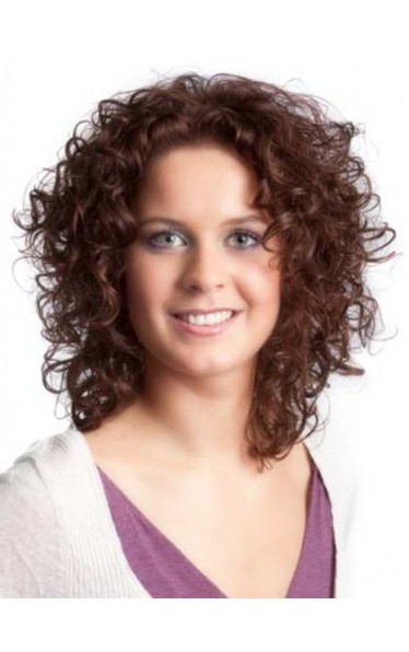 Lace Front Medium Curly Top Quality Heated Fiber Hair Wig