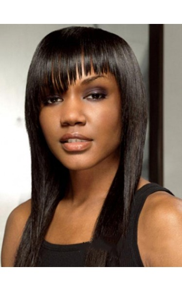 Modern Long Straight African American Wig