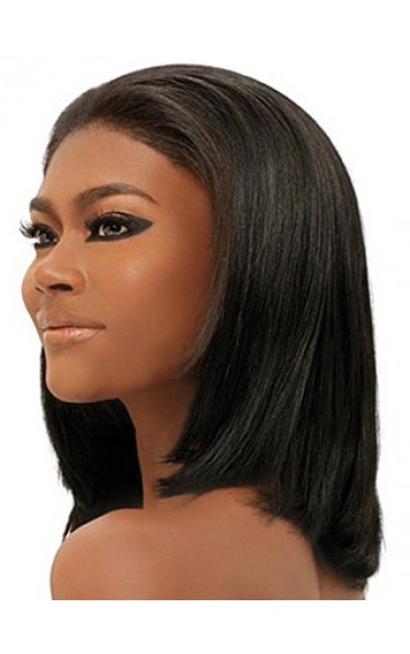 Adjustable Medium Straight Black Capless Wig