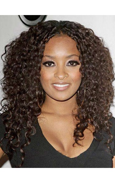 Wonderful Curly Brown African American Lace Wigs