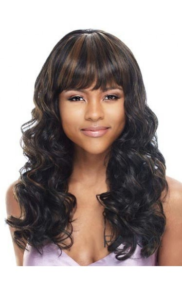 Outstanding Long Wavy Sepia Full Bang African American Wigs