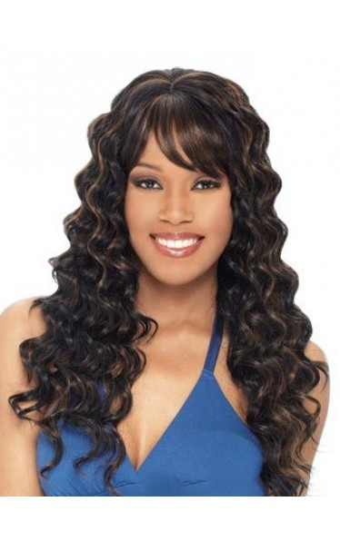 Personalized Long Wavy Brown Side Bang African American Lace Wigs