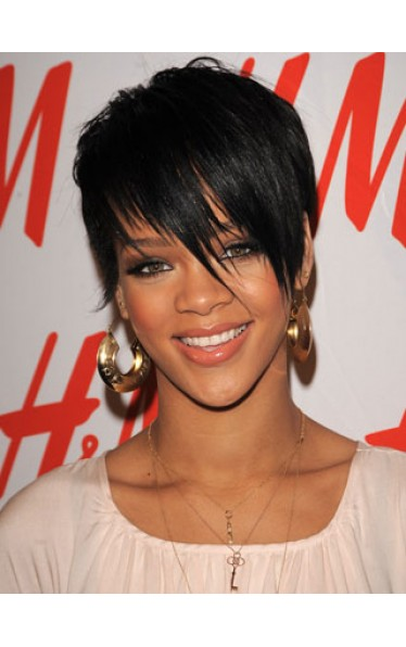 Rihannas Bangs Short Hairstyle Wig