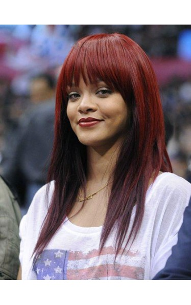 Rihanna Carefree Long Straight Remy Human Hair Wig