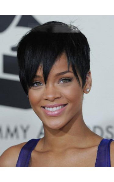 Trendy Short Straight Rihanna Hairstyle Synthetic Lace Front Wig