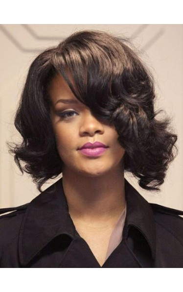 Cool Medium Wavy Rihanna Hairstyle Remy Human Hair Lace Front Wig