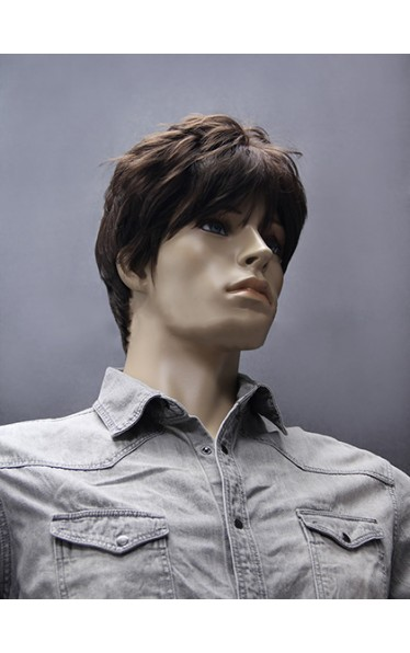 Chic Short Straight Synthetic Capless Wig for Man