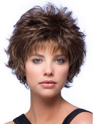 Curly Mixed Layered Short Capless Wig, Short Hairstyles Wigs | D4 wwk094