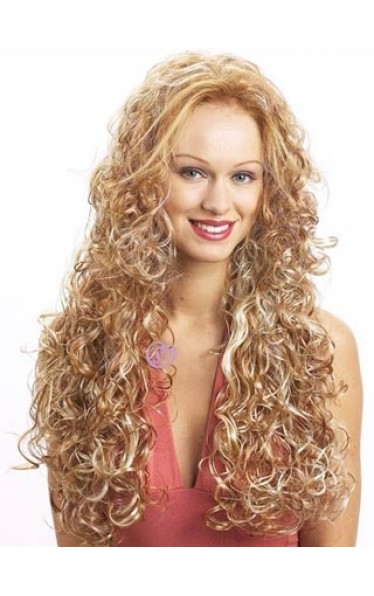 Extra Long Curly Synthetic 3/4 Capless Wig
