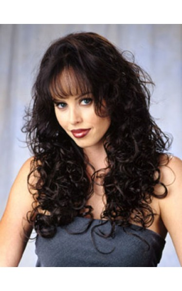 Long Bouncy Curls Synthetic 3/4 Wig