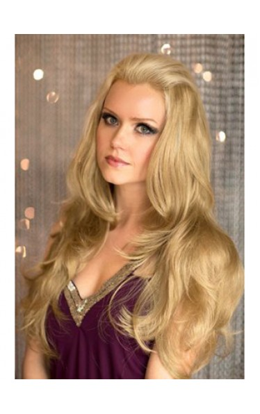 Long Blonde 3/4 wig with Soft Loose Curls