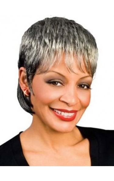 India Synthetic Grey Wig