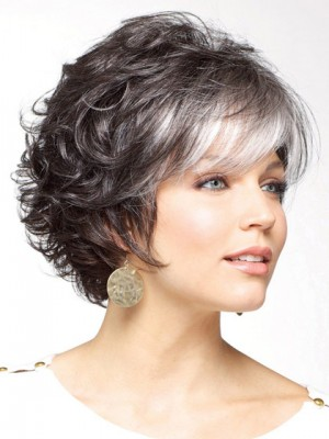 Gorgeous Soft Curly Synthetic Capless Grey Wig, Short Gray Wig | D4 ...