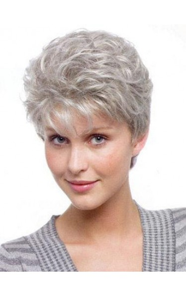Graceful Wavy Short Cut Capless Grey Wig