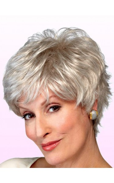 Shaggy Wavy Lady Synthetic Capless Grey Wig